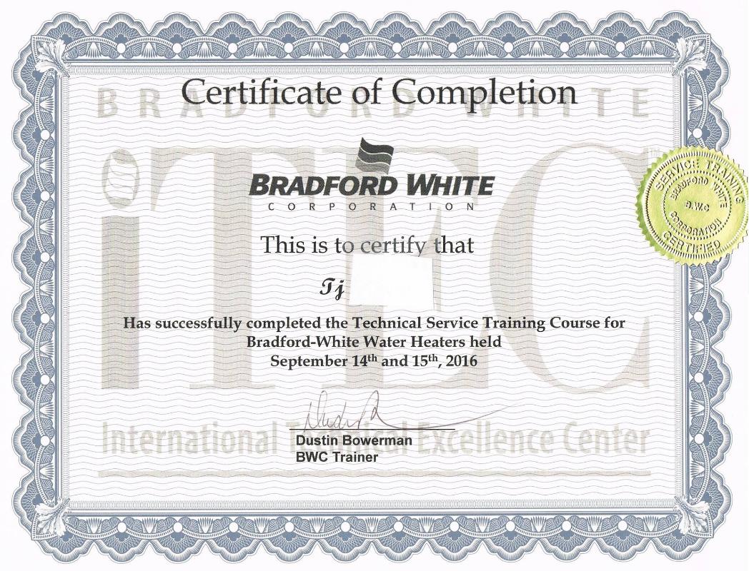 Bradford White Training