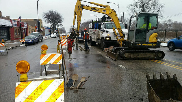 Repair Work on Western Ave in Chicago
