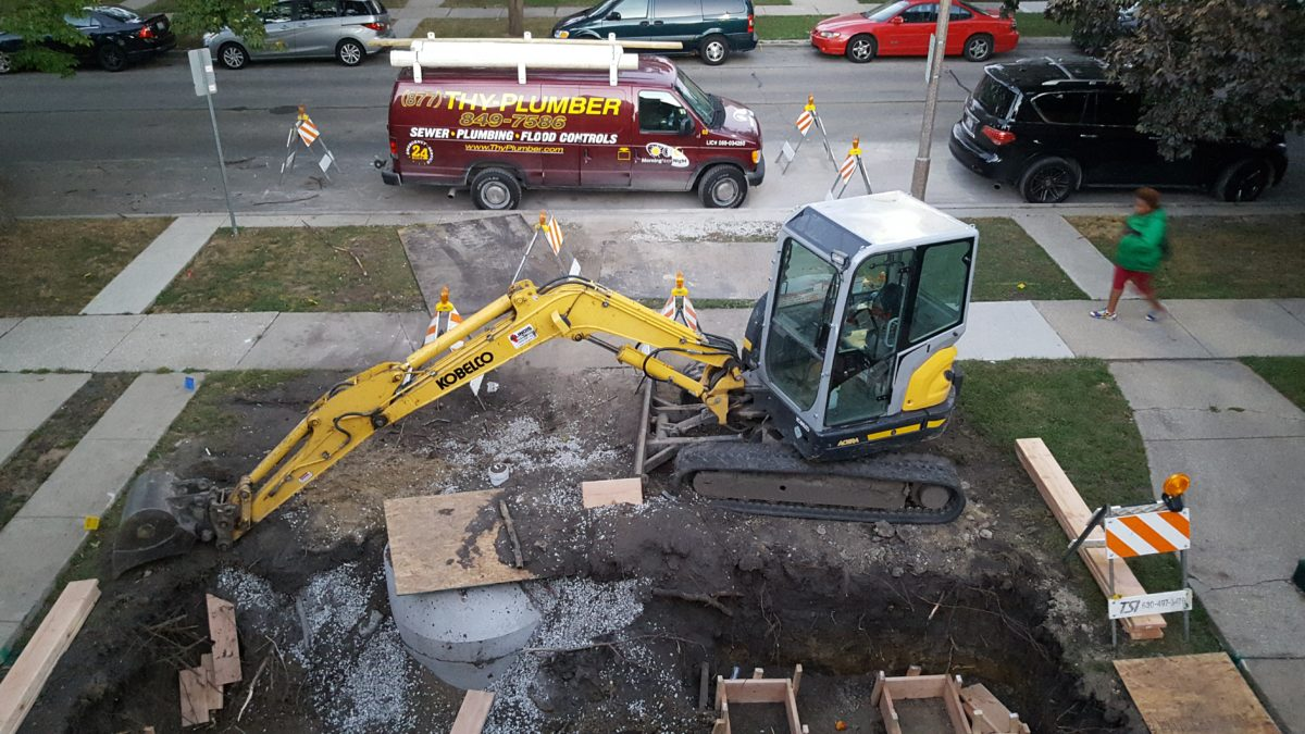 NEW sewer, water service, flood control & foundation in Berwyn, IL